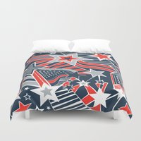 patriotic Duvet Covers featuring Patriotic Pattern by Aron Gelineau