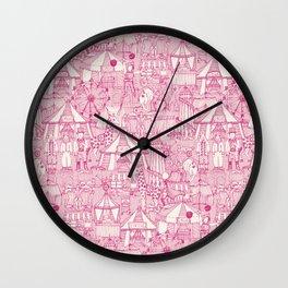 retro circus pink ivory Wall Clock