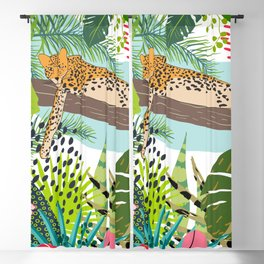 Lazy Jungle Cat, Bold Colorful Botanical Abstract Blackout Curtain