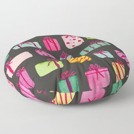 Colorful Wrapped Packages on Black Floor Pillow