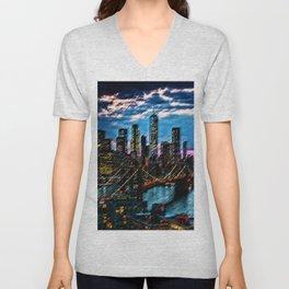 Lower Manhattan and Brooklyn Bridge Landscape Painting by Jeanpaul Ferro Unisex V-Neck