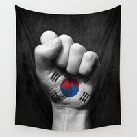 korean Wall Tapestries featuring South Korean Flag on a Raised Clenched Fist by Jeff Bartels