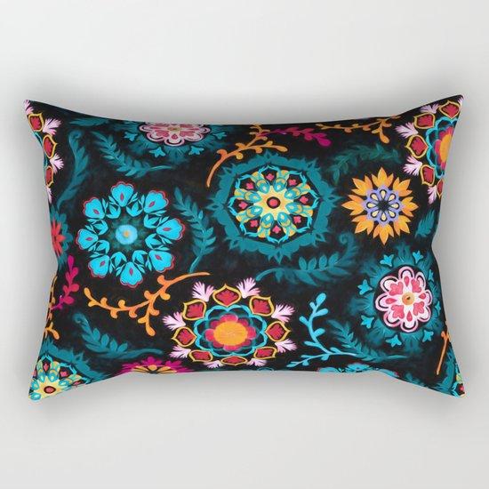 Suzani Inspired Pattern on Black Rectangular Pillow