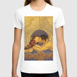 The Kiss romantic portrait mosaic painting by Friedrich Wilhelm Kleukens T-shirt
