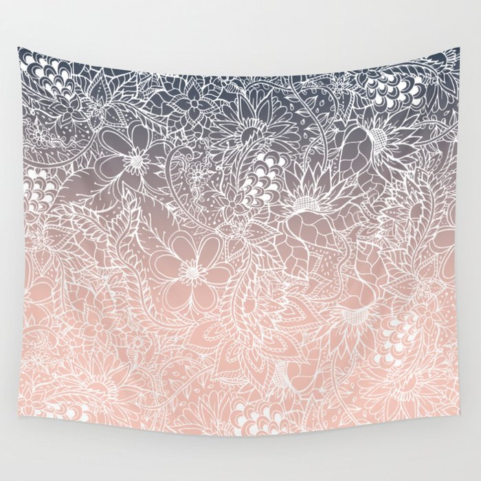 Navy Blue Pastel Peach Ombre Gradient White Floral Pattern