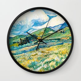Mountain Lanscape behind the hospital saint paul by Vicent Van Gogh Wall Clock