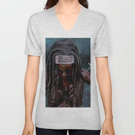 Michonne And Her Sword - The Walking Dead Unisex V-Neck