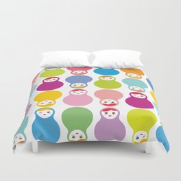 dolls matryoshka on white background Duvet Cover