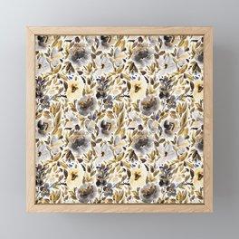 Gold and Grey Fall Feels Floral Framed Mini Art Print