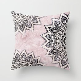 ROSE BOHO NIGHTS MANDALAS Throw Pillow