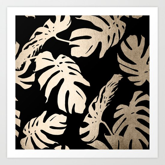 Simply Palm Leaves in White Gold Sands on Midnight Black Art Print