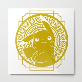 Stained Glass - Pokémon - Pika Metal Print