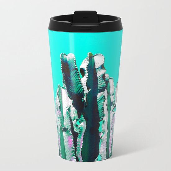 Majestic Cactus - Aqua Metal Travel Mug