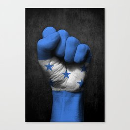 Honduran Flag on a Raised Clenched Fist Canvas Print