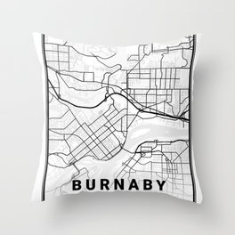 Burnaby Light City Map Throw Pillow