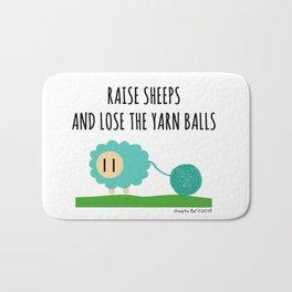 Raise sheeps and lose the yarn balls Bath Mat