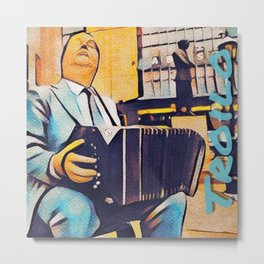 Anibal Troilo Gold and Blue Pop Art Metal Print