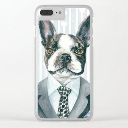 Boston Terrier Dressed for Dinner Clear iPhone Case