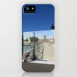 Painter On The Boardwalk (Seine, France) iPhone Case