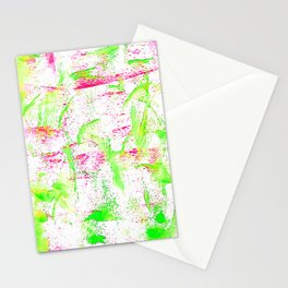 Watercolor green and pink Stationery Cards