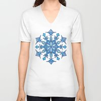 sacred geometry V-neck T-shirts featuring Sacred Geometry Snowflake Mandala by Jam.
