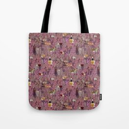 Wine and Cheese Pattern Print Tote Bag
