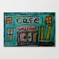 cafe Canvas Prints featuring cafe by songs for seba