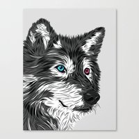 gray Canvas Prints featuring Gray wolf by Roland Banrevi