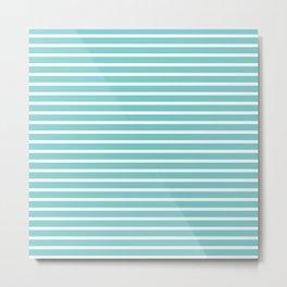 Nautical Teal Sea Breeze Horizontal Stripes Metal Print