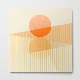 Abstraction_SUNSET_SUNRISE_LINE_HORIZON_POP_ART_111A Metal Print