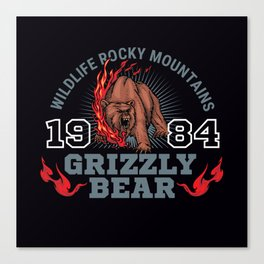 Wildlife Rocky Mountains Grizzly Bear Canvas Print