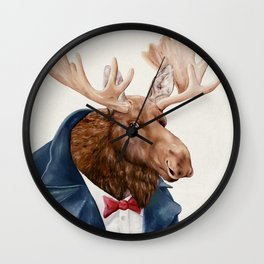Moose in Navy Blue Wall Clock