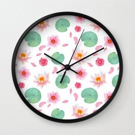 Watercolor blush pink green yellow water lilies lotus floral Wall Clock