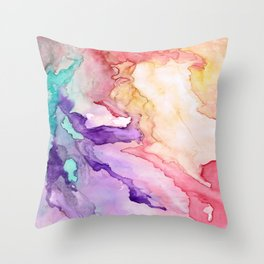 Color My World Watercolor Abstract Painting Throw Pillow
