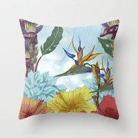 brasil Throw Pillows featuring Brasil by Thyra Helgesen