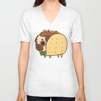 taco V-neck T-shirts featuring Puglie Taco by Puglie Pug