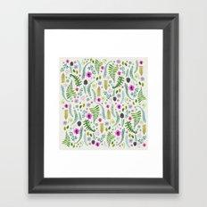 Ferns and Flowers Framed Art Print