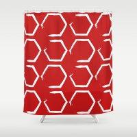 hexagon Shower Curtains featuring Red Hexagon by C Designz
