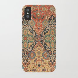Geometric Leaves VIII // 18th Century Distressed Red Blue Green Colorful Ornate Accent Rug Pattern iPhone Case