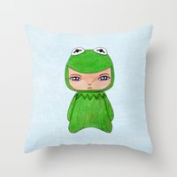 kermit Throw Pillows featuring A Boy - Kermit the frog by Christophe Chiozzi