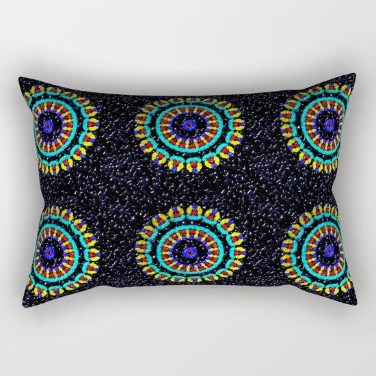 Kaleidoscope Patterns Against Black Rectangular Pillow