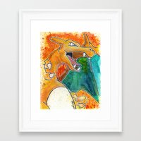 charizard Framed Art Prints featuring Charizard by Luke Jonathon Fielding