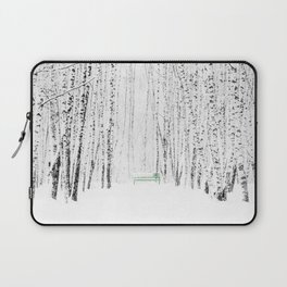 Green bench in white winter forest Laptop Sleeve