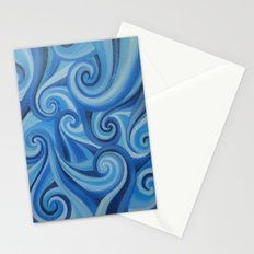 Parting Waves abstract ocean sea swirls painting Stationery Cards