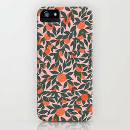 Oranges and Leaves Pattern - Pink iPhone Case