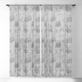 Eurasian Wolf Toile Pattern (Gray) Sheer Curtain