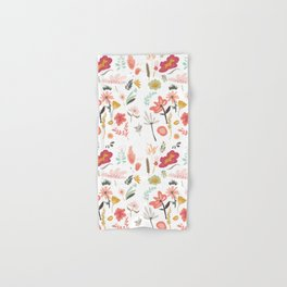 Hand painted pastel pink coral green floral illustration Hand & Bath Towel