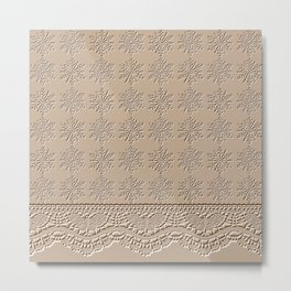 Lace and Stars in Coffee Color Chenille Pattern Metal Print