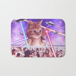 cat invader from space galaxy marsians attacking beach Bath Mat