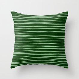 Forest Green Pinstripes Throw Pillow